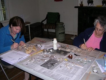 Volunteers processing artifacts from the Brown House (Howard Conservancy) Site